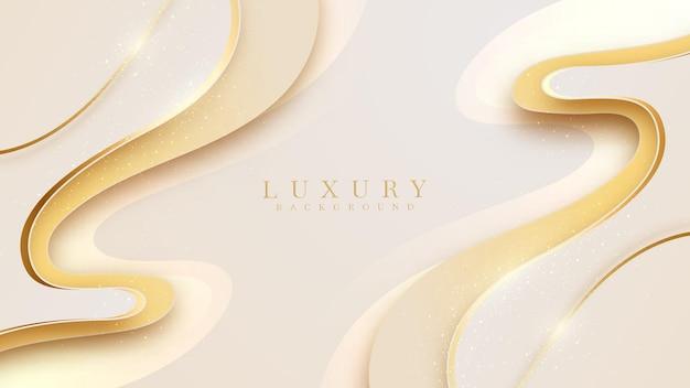 Luxushintergrund zusammen mit goldener linie, gelbe abstrakte pastellszene über süßes und glattes gefühl, vektorillustration für design.