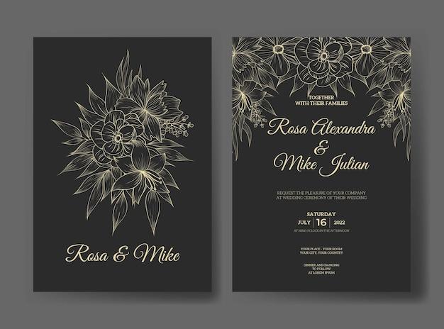 Luxushochzeitseinladung mit schöner strichzeichnungsblumenschablone