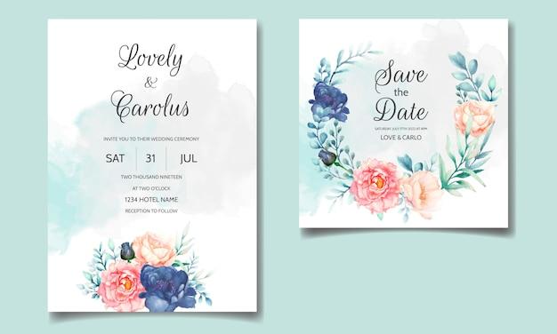 Luxushochzeitseinladungskartenschablone gesetzt mit schönem aquarellblumen