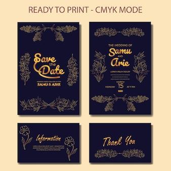 Luxushochzeitseinladungskartenschablone mit goldener blumenlinie