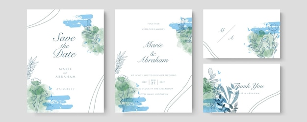 Luxushochzeitseinladungskartenvektor. einladendes cover-design mit aquarell-rouge und goldener linienstruktur