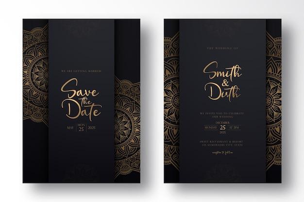 Luxushochzeitskartenschablonenentwurf mit luxusmandala im umrissstil