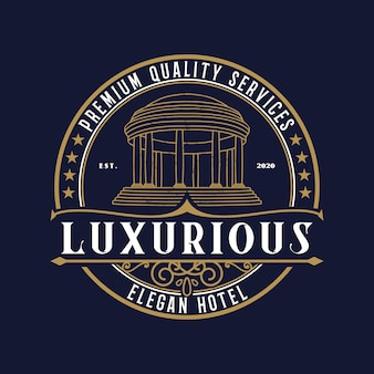 Luxushotel logo vintage design premium-vorlage