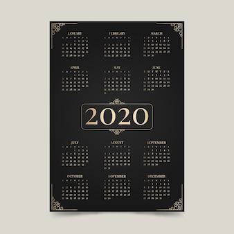 Luxuskalender des neuen jahres 2020