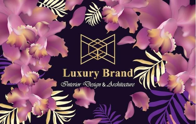 Luxuskarte mit orchidee blüht vektor. schöne illustration für markenbuch, visitenkarte oder plakat. rosa hintergrund. platz für texte
