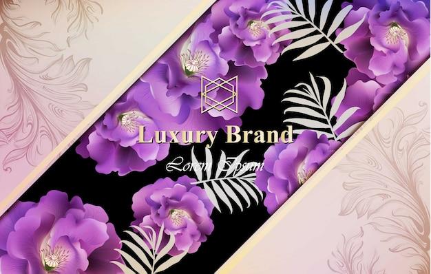 Luxuskarte mit rosen blüht vektor. schöne illustration für markenbuch, visitenkarte oder plakat. rosa hintergrund. platz für texte