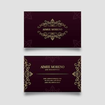 Luxuskonzept für visitenkartenvorlage