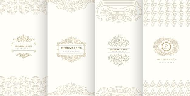 Luxuslogodesign und luxushintergrund für das verpacken