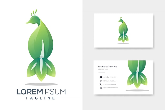 Luxuslogoschablone des grünen pfauenblattes mit visitenkarte
