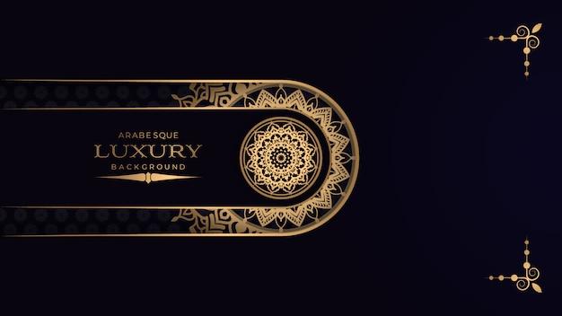 Luxusmandala mit arabischer islamischer ostart des goldenen arabeskenmusters