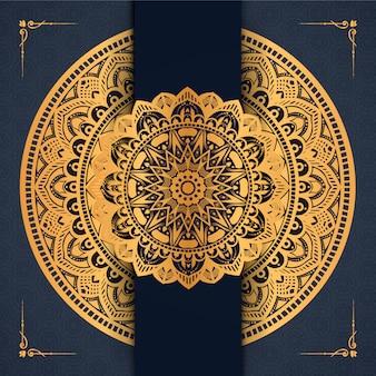 Luxusmandalahintergrund mit arabischem islamischem ostart prämien-vektor des goldenen arabeskenmusters