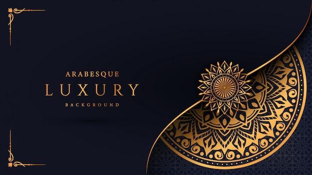 Luxusmandalahintergrund mit arabischer islamischer ostart des goldenen arabeskenmusters