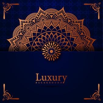Luxusmandalahintergrund mit arabischer ostart der goldenen arabeske