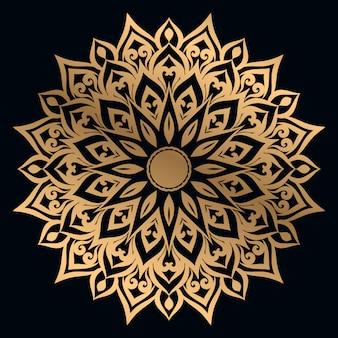 Luxusmandalahintergrund mit arabischer ostart des goldenen arabeskenentwurfs