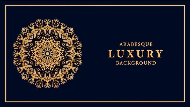 Luxusmandalahintergrund mit goldenem arabeskenmuster der arabischen art