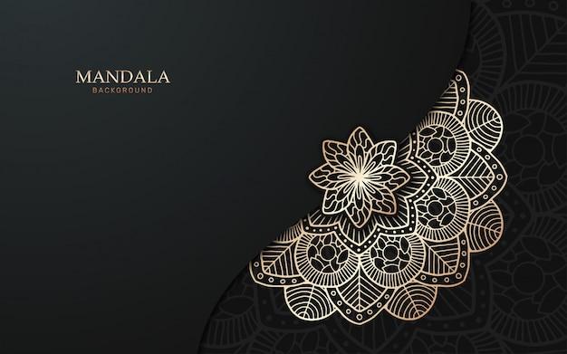Luxusmandalahintergrund mit goldener arabeske