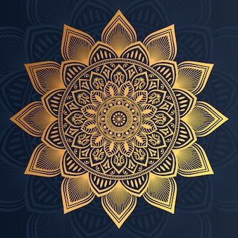 Luxusmandalahintergrund mit goldener arabeskenart prämie