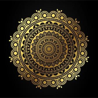 Luxusmandalakunst mit goldener arabeskenillustration