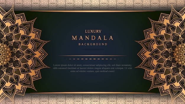 Luxusmandalakunst mit goldener hintergrundostart 3