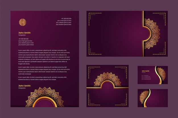 Luxusmarkenidentität oder stationäre designvorlage mit luxuriösem ziermandala