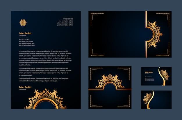Luxusmarkenidentität oder stationäre designvorlage mit luxuriöser dekorativer mandala-arabeske, visitenkarte, briefkopf