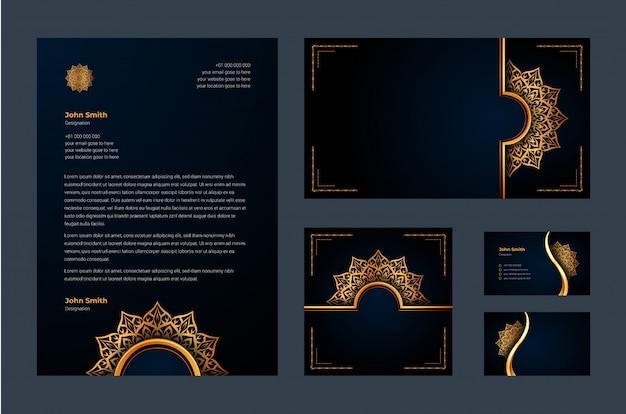 Luxusmarkenidentität oder stationäre designvorlage mit luxuriöser dekorativer mandala-arabeske