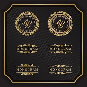 Luxusmonogrammauslegung mit elegantem schwarzem hintergrund