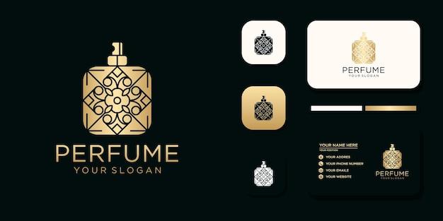 Luxusparfümlogo mit flaschendesign und visitenkartenvorlagenreferenz