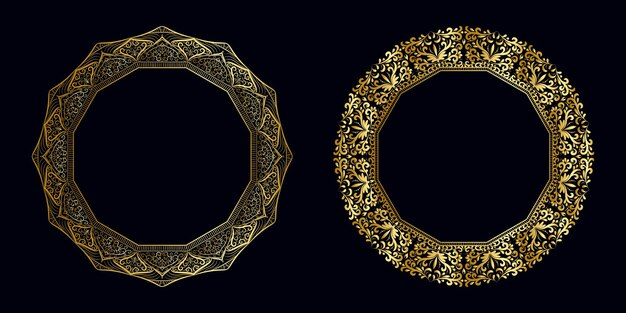 Luxusrahmen goldenes mandala-konzept-set