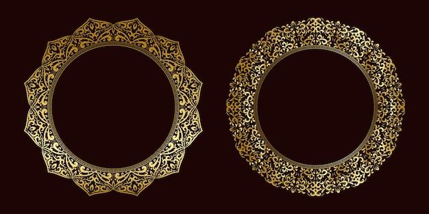 Luxusrahmenset goldenes mandala-blumenkonzept