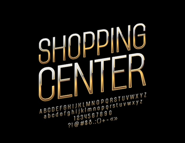Luxusschild einkaufszentrum golden glossy font. alphabet buchstaben zahlen und interpunktionssymbole