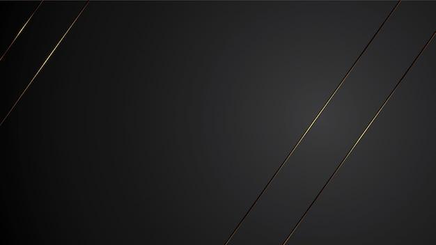 Luxusschwarzhintergrund-fahnenillustration mit der goldstreifen-art deco-linie elegant
