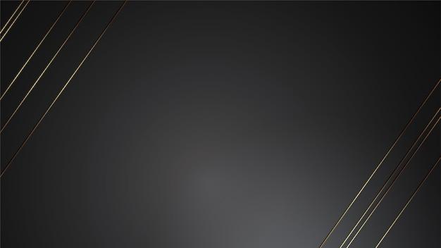 Luxusschwarzhintergrund-fahnenillustration mit goldstreifen-art deco hintergrund