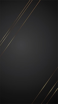 Luxusschwarzhintergrund-fahnenillustration mit goldstreifen-art deco-linie design