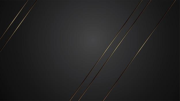 Luxusschwarzhintergrund-fahnenillustration mit goldstreifen-art deco linie für fahne