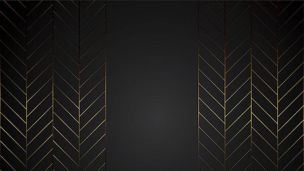 Luxusschwarzhintergrund-fahnenillustration mit goldstreifen-art deco linie für firma