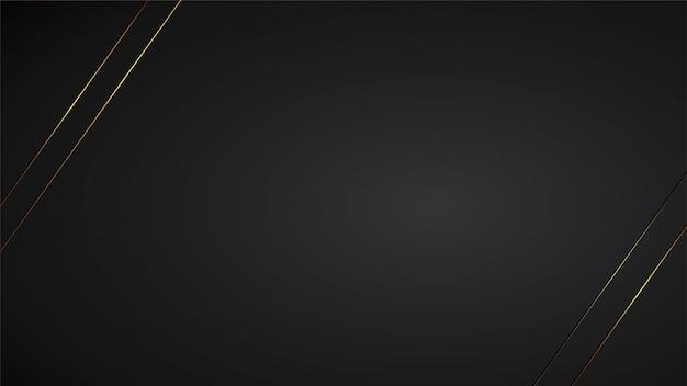 Luxusschwarzhintergrund-fahnenillustration mit goldstreifen-art deco linie