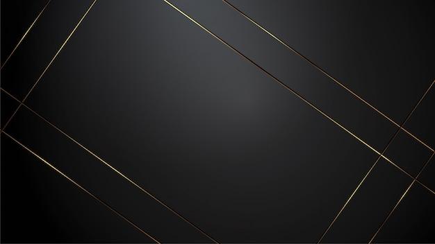 Luxusschwarzhintergrund-fahnenillustration mit goldstreifen-art deco-schwarzfarbe