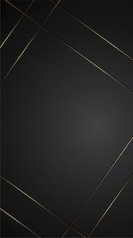 Luxusschwarzhintergrund-fahnenillustration mit goldstreifen-art- decoschwarzkonzept