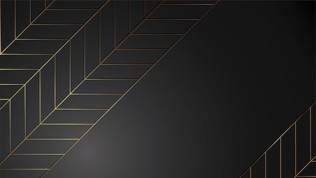 Luxusschwarzhintergrund-fahnenillustration mit goldstreifen-art- decourlaub modern