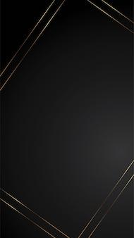 Luxusschwarzhintergrundfahnenillustration mit leerem raum des goldstreifen-art deco