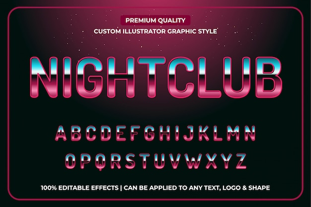 Luxustext-effekt-editierbare vektor-grafik-art des nachtklub-3d