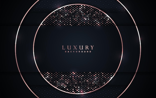Luxusüberlappung marineblau hintergrund mit roségold element dekoration