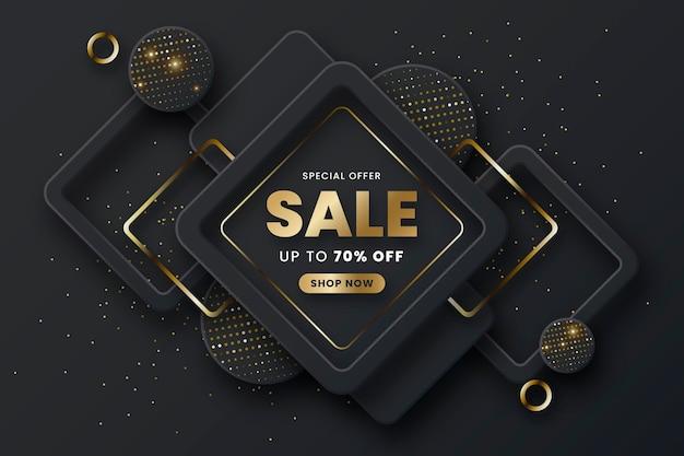 Luxusverkaufstapete mit goldenen elementen
