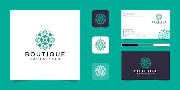 Luxusverzierung minimalistische elegante blumenrose mit strichgrafikstil. logo und visitenkarte