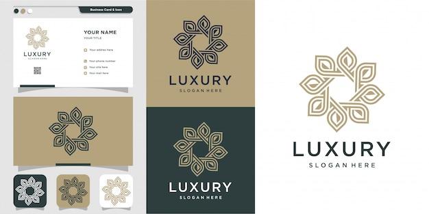 Luxusverzierungslogo mit strichgrafikart und visitenkartenentwurf, luxus, abstrakt, schönheit, ikone