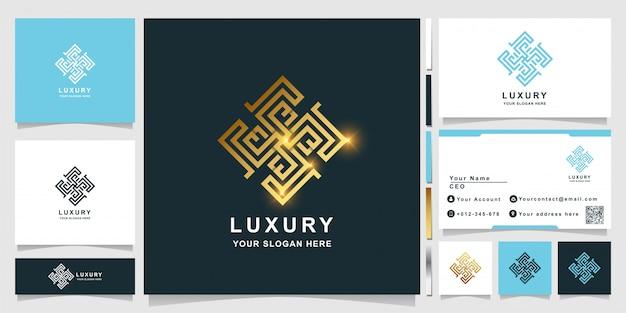 Luxusverzierungslogoschablone mit visitenkartenentwurf.