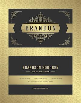 Luxusvisitenkarte und goldenes weinleseverzierungslogo vector schablone.