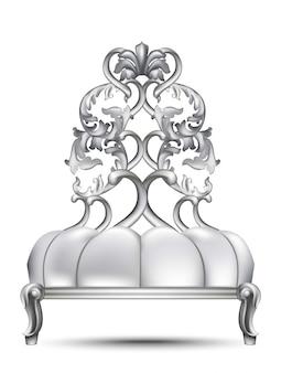 Luxuxbarockstuhl vektor realistisches design 3d. rich geschnitzte ornamente silberfarben
