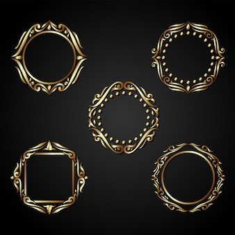 Luxuxgoldkreis-rahmenvektor